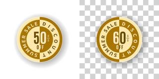 Etiqueta engomada de la venta del verano descuento del 50 y 60 por ciento en color de oro Imágenes de archivo libres de regalías