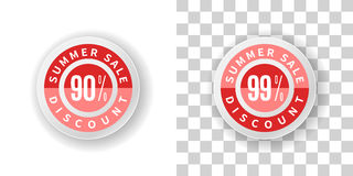 Etiqueta engomada de la venta del verano descuento del 90 y 99 por ciento en color rojo Imagenes de archivo