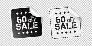 Etiqueta engomada de la venta Venta el hasta 60 por ciento Enfermedad blanco y negro del vector libre illustration