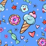 Etiqueta engomada de moda de la flor del caramelo del helado de la estrella del corazón de los dulces de la diversión infantil in libre illustration