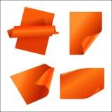Etiqueta engomada de papel anaranjada Stock de ilustración