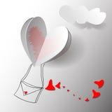 Etiqueta engomada de papel con la sombra - vector del corazón Foto de archivo