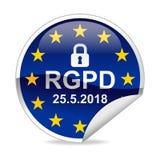 Etiqueta engomada de regla de la notificación de la protección de datos general de RGPD Imagen de archivo