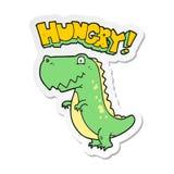 etiqueta engomada de un dinosaurio hambriento de la historieta stock de ilustración