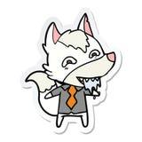 etiqueta engomada de un lobo hambriento de la historieta en ropa de la oficina ilustración del vector