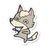 Etiqueta engomada de un lobo hambriento de la historieta ilustración del vector