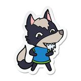 Etiqueta engomada de un lobo hambriento de la historieta libre illustration