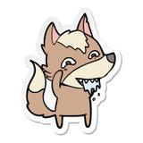 Etiqueta engomada de un lobo hambriento de la historieta stock de ilustración