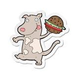 etiqueta engomada de un perro hambriento de la historieta con la hamburguesa ilustración del vector