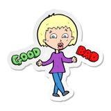 etiqueta engomada de una mujer de la historieta que pesa encima de opciones stock de ilustración