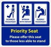 Etiqueta engomada del asiento de prioridad usando en el transporte público, como el autobús, el tren, el tránsito rápido total y  stock de ilustración