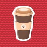 Etiqueta engomada del café a ir en fondo rayado rojo Elementos del diseño gráfico para el menú, cartel, folleto Ejemplo del vecto Fotos de archivo libres de regalías