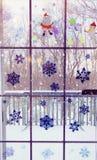 Etiqueta engomada del copo de nieve y de la historieta Fotos de archivo