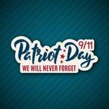 9/11 etiqueta engomada del día del patriota con las letras 11 de septiembre de 2001 Ilustración del Vector