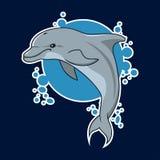 Etiqueta engomada del delfín del vector stock de ilustración