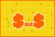 Etiqueta engomada del estilo del proyecto de las ventas Fotografía de archivo libre de regalías