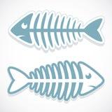Etiqueta engomada del hueso de pescados stock de ilustración