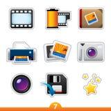 Etiqueta engomada del icono fijada - fotografía