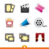 Etiqueta engomada del icono fijada - película y película Fotografía de archivo libre de regalías