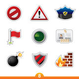 Etiqueta engomada del icono fijada - seguridad Fotografía de archivo