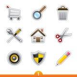 Etiqueta engomada del icono fijada - universal del Web Foto de archivo