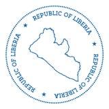 Etiqueta engomada del mapa del vector de Liberia Fotos de archivo