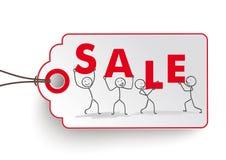 Etiqueta engomada del precio de venta de Stickman Fotografía de archivo libre de regalías
