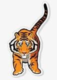 Etiqueta engomada del tigre Fotografía de archivo