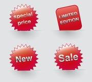 Etiqueta engomada del vector de la oferta especial de los iconos de la venta Imagen de archivo libre de regalías