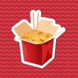 Etiqueta engomada del wok de los tallarines en la caja de papel en fondo rayado rojo Elementos del diseño gráfico para el menú, c Imagen de archivo
