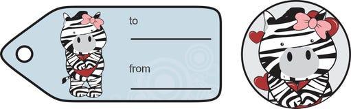 Etiqueta engomada dulce de la tarjeta del día de San Valentín de la historieta de la cebra de la muchacha Fotos de archivo libres de regalías