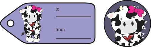 Etiqueta engomada dulce de la tarjeta del día de San Valentín de la historieta de la vaca Foto de archivo libre de regalías