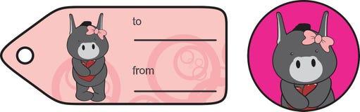 Etiqueta engomada dulce de la tarjeta del día de San Valentín de la historieta del burro Imagenes de archivo