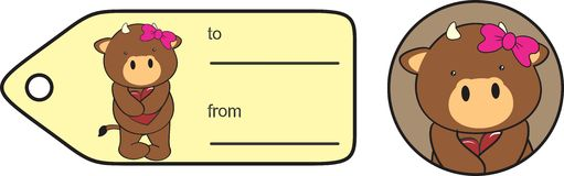 Etiqueta engomada dulce de la tarjeta del día de San Valentín de la historieta del toro Imagen de archivo