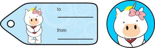 Etiqueta engomada dulce de la tarjeta del día de San Valentín de la historieta del unicornio del toro Fotos de archivo