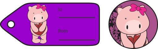 Etiqueta engomada dulce de la tarjeta del día de San Valentín de la historieta del cerdo de la muchacha Imágenes de archivo libres de regalías