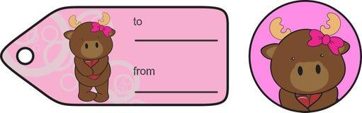 Etiqueta engomada dulce de la tarjeta del día de San Valentín de la historieta del reno Imágenes de archivo libres de regalías