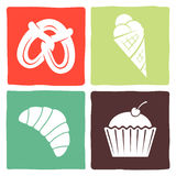 Etiqueta engomada e iconos para los restaurantes Imágenes de archivo libres de regalías