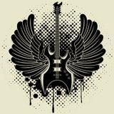 Etiqueta engomada en la camisa la imagen de una guitarra del ala Fotos de archivo