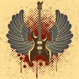 Etiqueta engomada en la camisa la imagen de una guitarra del ala Imagenes de archivo