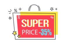 Etiqueta engomada estupenda del promo del descuento del precio -35 con las estrellas Fotografía de archivo libre de regalías