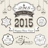 Etiqueta engomada, etiqueta o etiqueta para el celebratio 2015 de la Navidad y del Año Nuevo Fotografía de archivo