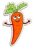 Etiqueta engomada feliz de la zanahoria de la historieta ilustración del vector