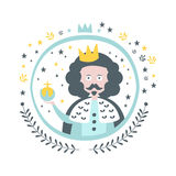 Etiqueta engomada femenina de rey Fairy Tale Character en marco redondo Fotos de archivo libres de regalías