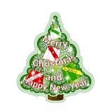 Etiqueta engomada festiva con el árbol de navidad y copos de nieve y presentes a cielo abierto Inscripción del saludo bajo la for Fotografía de archivo libre de regalías