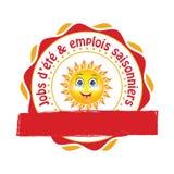 Etiqueta engomada francesa de la oferta de trabajos del verano stock de ilustración