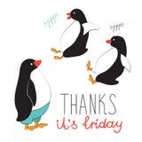 Etiqueta engomada fresca en estilo de la historieta El lema tipográfico le agradece, hoy viernes Para la impresión en las postale