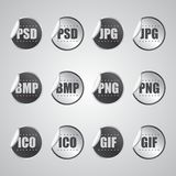 Etiqueta engomada gráfica del formato de archivo Imagenes de archivo