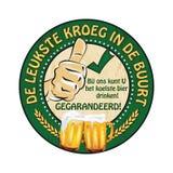 Etiqueta engomada holandesa de la publicidad de la cerveza: kroeg del leukste en de buurt Fotos de archivo libres de regalías