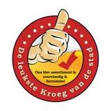Etiqueta engomada holandesa de la publicidad de la cerveza: kroeg del leukste en de buurt Fotografía de archivo